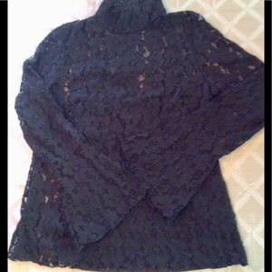 INC NEW BLACK LACE TOP XL W/FLARED SLEEVES